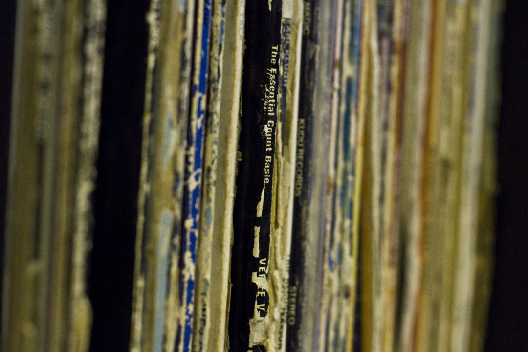 Macro shot of vinyl records