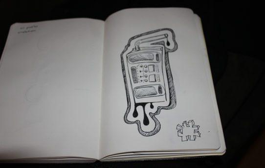 Juicebox boombox notebook sketch