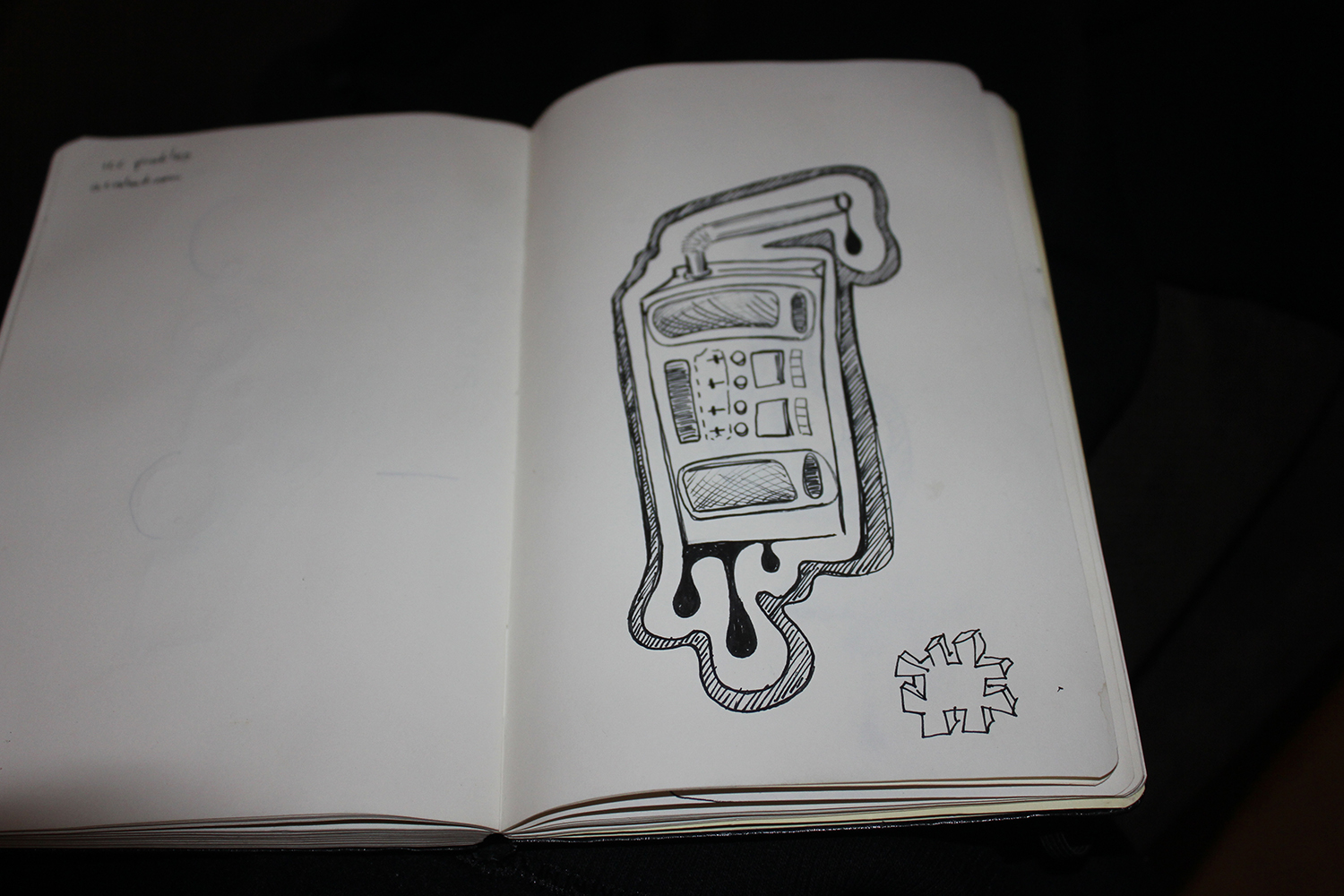 Juicebox boombox notebook sketch