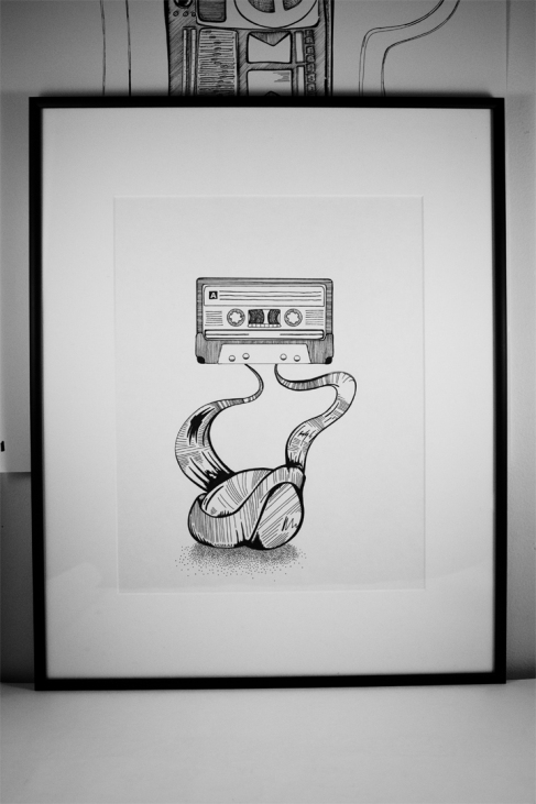 casette tape ink drawing