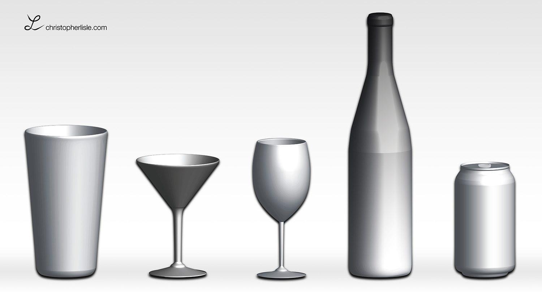 3D renderings of bottles