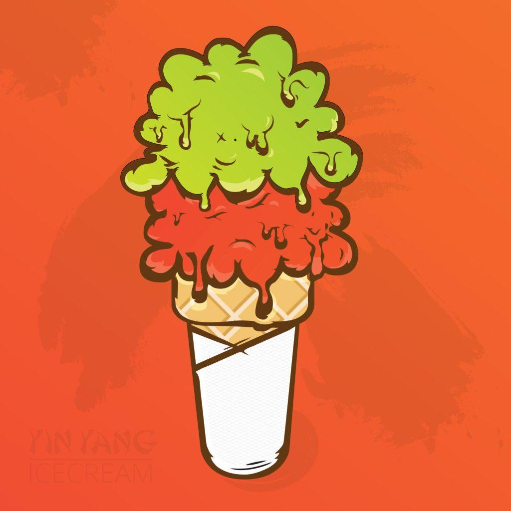 Ying Yang Ice cream cone illustration
