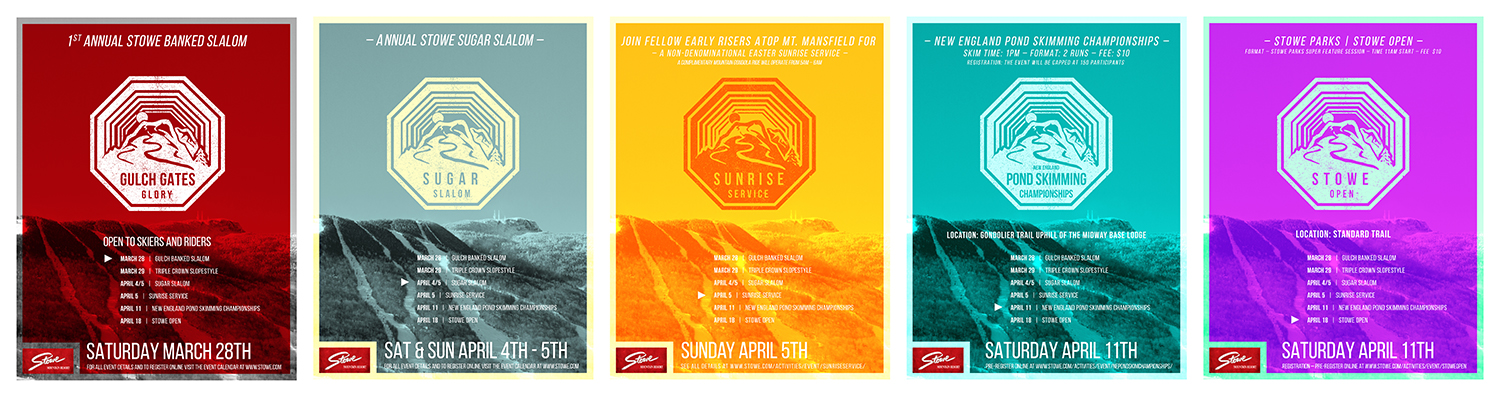 Poster series for Stowe Mountain Resort