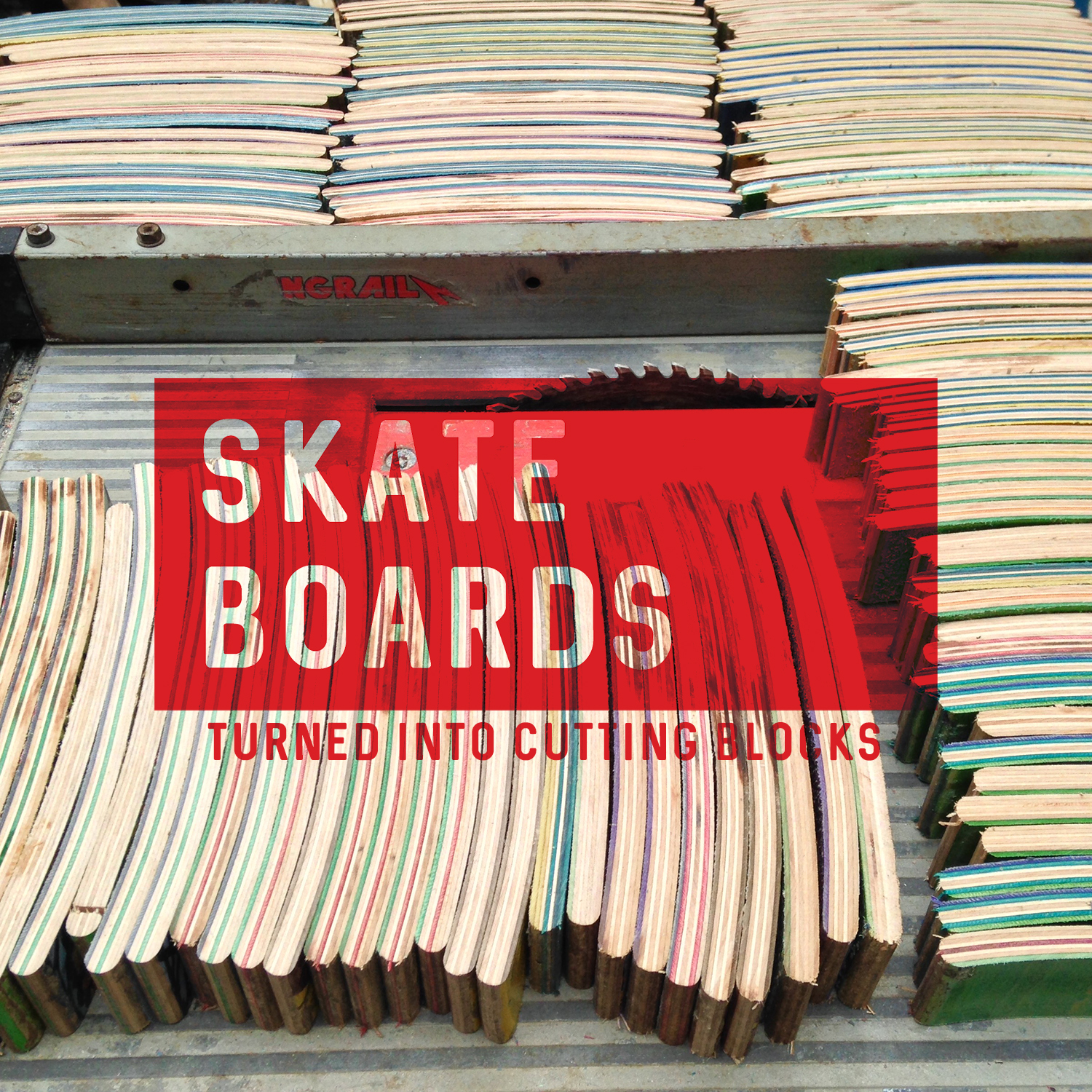 Cutting Blocks made out of old skateboards