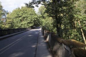 Bridge by parking lot