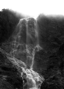 The falls as mist burns off